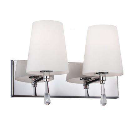 Monica 14 in. W 2-Light Chrome Vanity Light with Optional Crystal Water Drop Accent Details and Opal Glass Shades