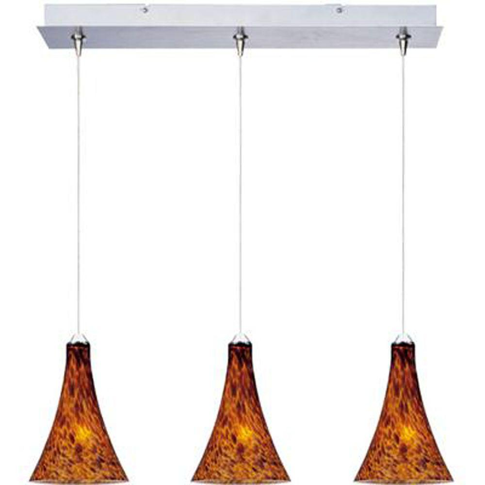 null Leopard 3-Light Satin Nickel RapidJack Pendant and Canopy