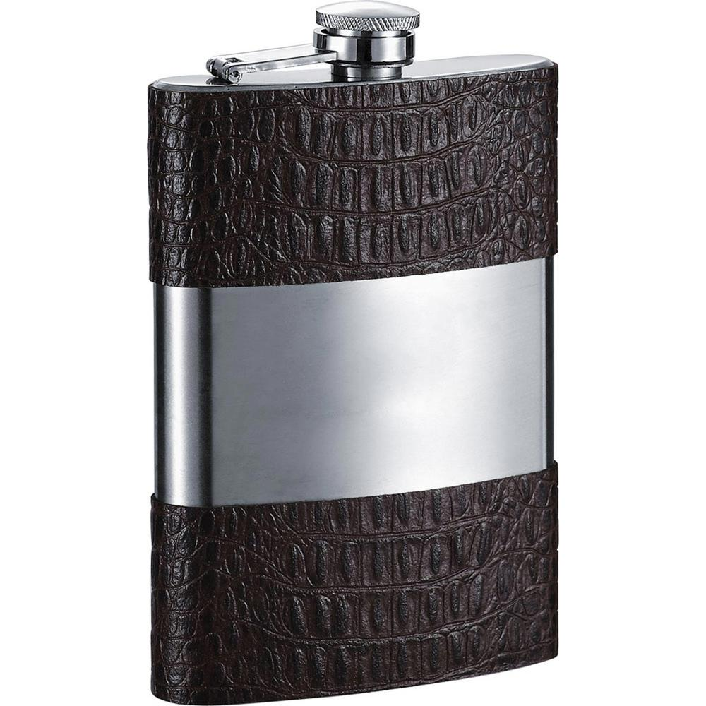 Liam Handcrafted Dark Brown Alligator Embossed Leather Liquor Flask
