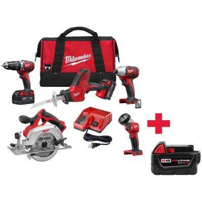 M18 18-Volt Lithium-Ion Cordless Combo Kit (5-Tool) W/ Free 5.0Ah Battery Pack