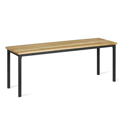 Linden Gray Metal and Natural Wood Dining Bench
