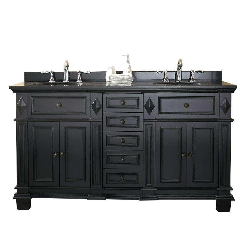 OVE Decors Essex 60 in. W x 21 in. D Vanity in Antique Black with Granite Vanity Top in Black with White Basin