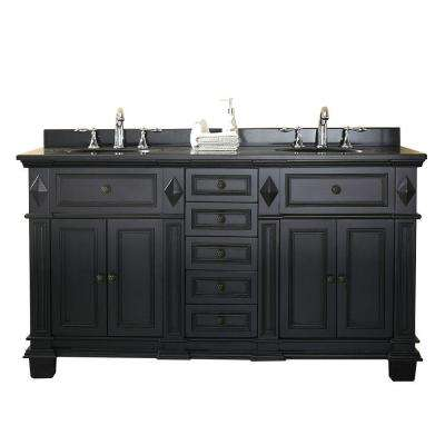 Essex 60 in. W x 21 in. D Vanity in Antique Black with Granite Vanity Top in Black with White Basin