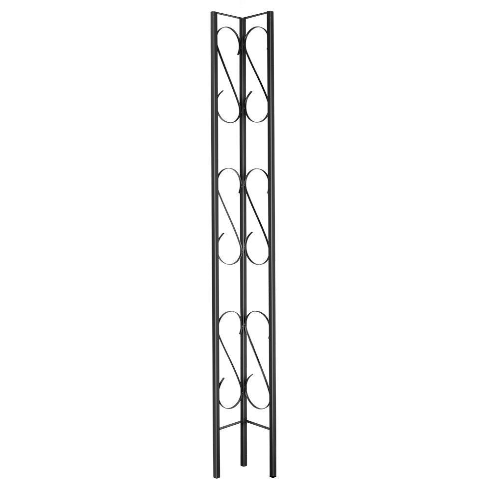 Scroll Design 9 in. W x 8 ft. H Black Steel Corner Decorative Column