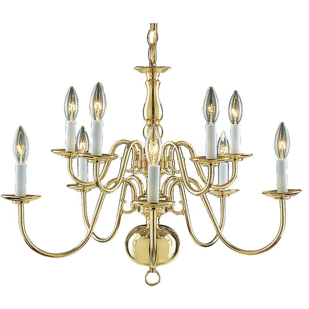 Volume Lighting 10-Light Solid Polished Brass Chandelier-DISCONTINUED