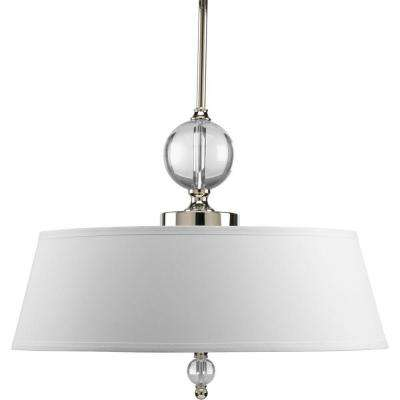 Fortune Collection 3-Light Polished Nickel Pendant with White Linen Glass