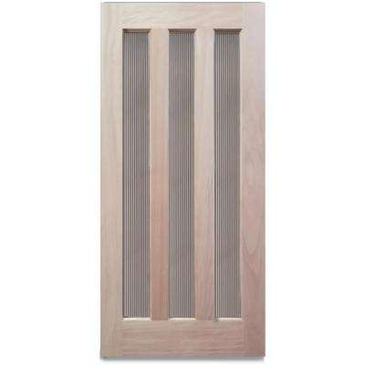 36 in. x 79 in. 3-Lite with Reed Glass Unfinished Mahogany Front Door Slab