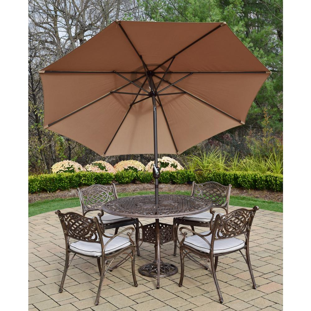 7-Piece Aluminum Outdoor Dining Set with Oatmeal Cushions and Champagne Umbrella