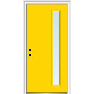 32 in. x 80 in. Viola Low-E Glass Right-Hand 1-Lite Clear Midcentury Painted Fiberglass Smooth Prehung Front Door
