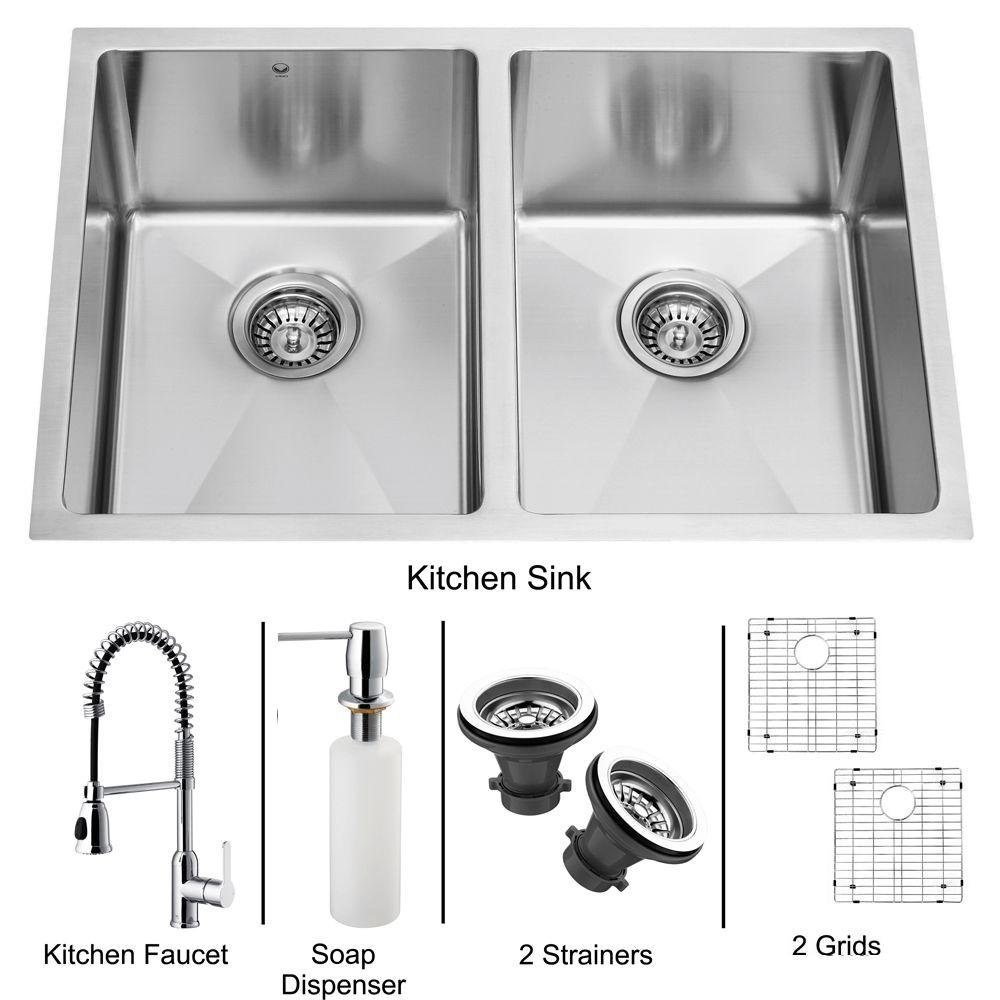 Vigo All-in-One Undermount Stainless Steel 27x18x9-7/8 0-Hole Double Basin Kitchen Sink-DISCONTINUED