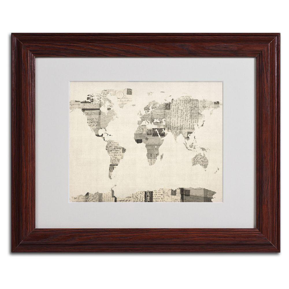 11 in. x 14 in. Vintage Postcard World Map Matted Framed