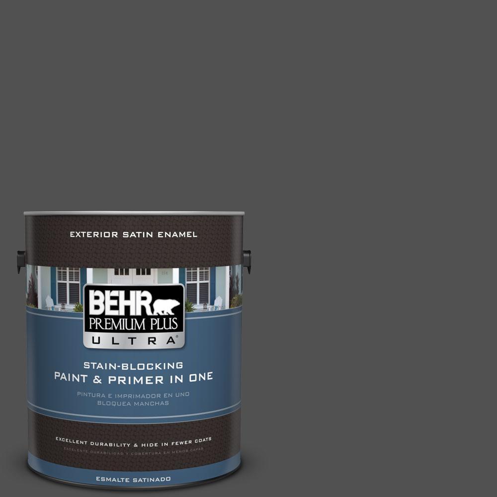 BEHR Premium Plus Ultra 1-gal. #N460-7 Space Black Satin Enamel Exterior Paint