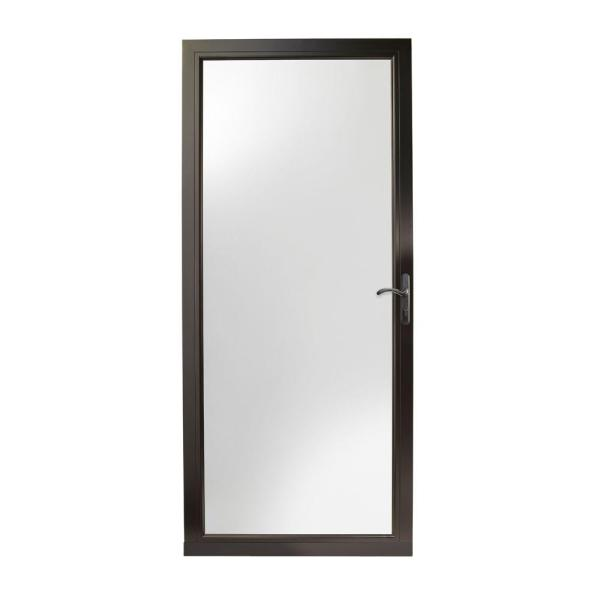 36 in. x 80 in. 3000 Series Black Right-Hand Fullview Easy Install Aluminum Storm Door with Oil-Rubbed Bronze Hardware