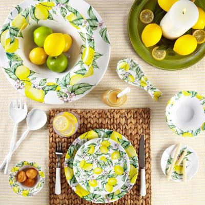 Limonata 4-Piece Vintage Yellow Melamine Outdoor Dinnerware Set (Service for 4)