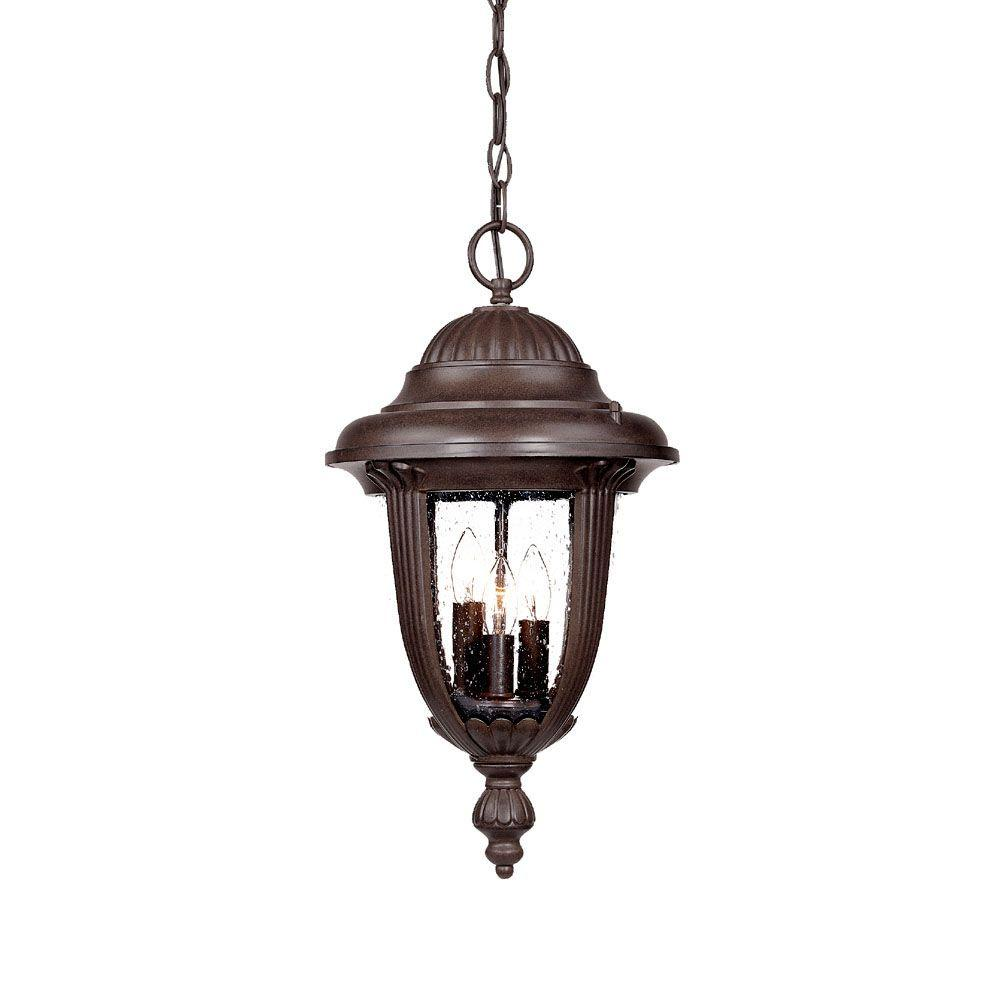 Acclaim Lighting Monterey Collection 3-Light Burled Walnut Outdoor Hanging Lantern Light Fixture