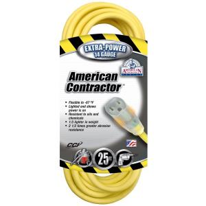 American Contractor 25 ft. 14/3 SJEO Outdoor Medium-Duty T-Prene Extension Cord... by American Contractor