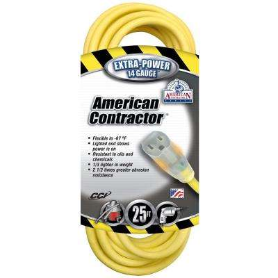 25 ft. 14/3 SJEO Outdoor Medium-Duty T-Prene Extension Cord with Power Light Plug