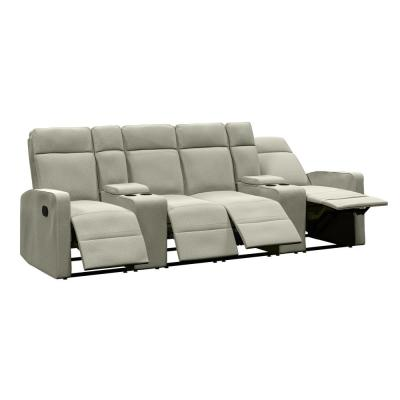 4-Seat Reclining Sofa 114 in. Wide with 2-Storage Consoles in Tan Chenille