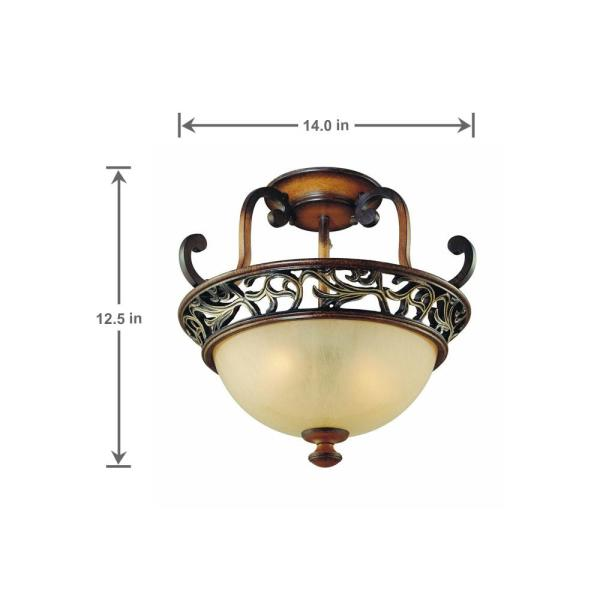 Caffe Patina 2 Light Semi Flush Mount