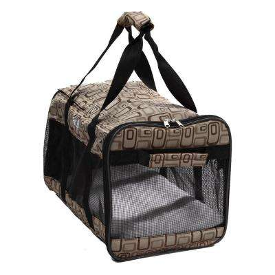 Airline Approved Zippered Folding Medium Cage Carrier in Paw Print Design - Medium