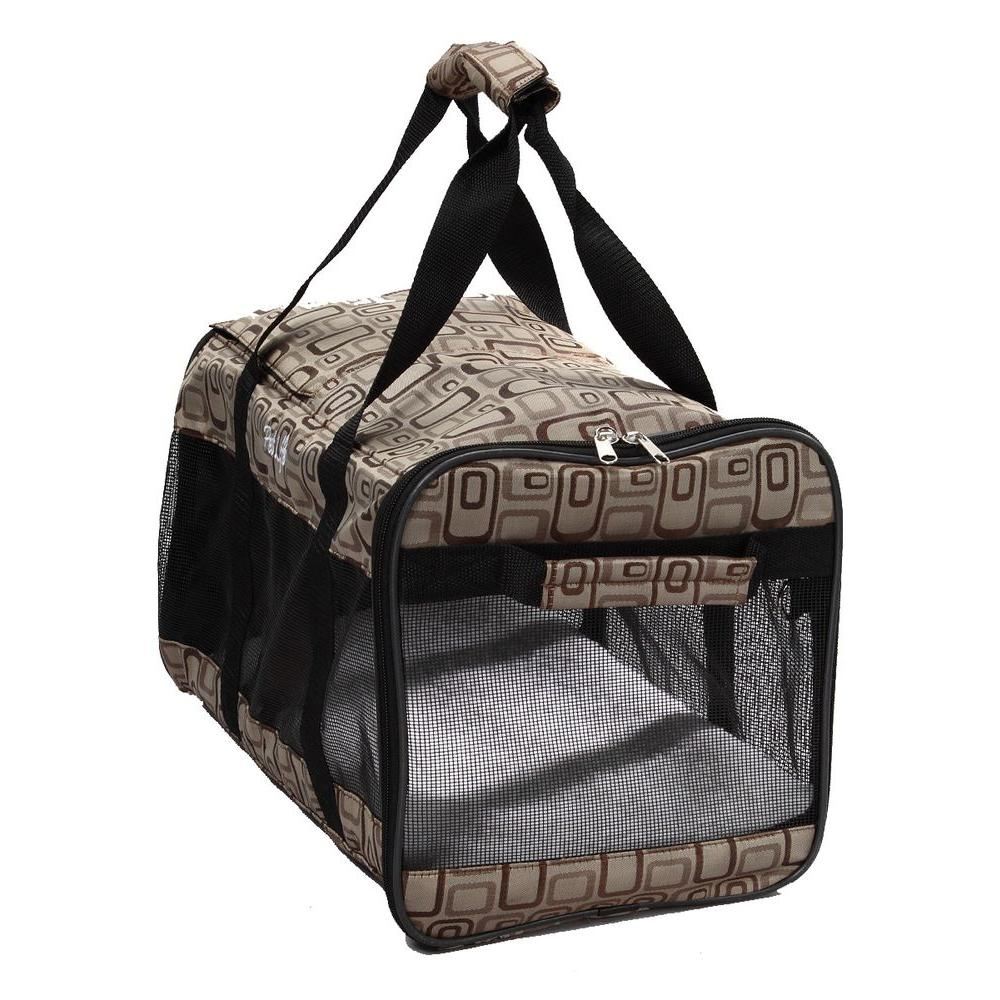 PET LIFE Airline Approved Zippered Folding Medium Cage Carrier in Paw Print Design - Medium