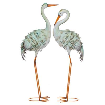"""39"""" and 41"""" Inch Tall Multicolored Crane Metal Garden Statues, Set of 2"""