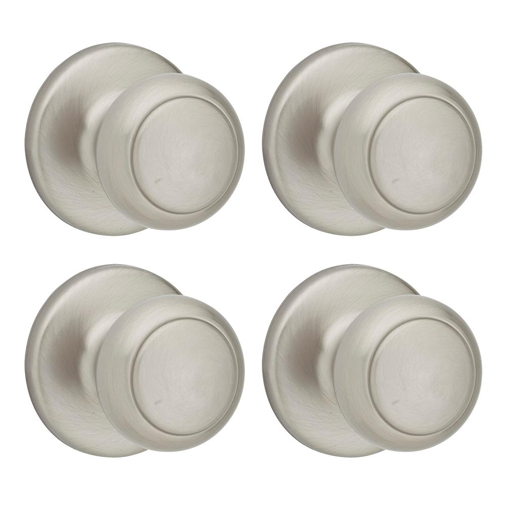Kwikset Cove Satin Nickel Hall/Closet Knob (4 Pack) 200CV 15 6AL RCS   The  Home Depot