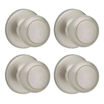 Cove Satin Nickel Hall/Closet Knob (4-Pack)