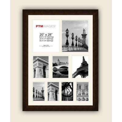 9-Opening 23-1/2 in. x 31-1/2 in. Multi-sized White Matted Bronze Photo Collage Frame