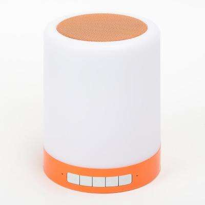 Rechargeable LED Touch Light with Bluetooth Speaker in Orange
