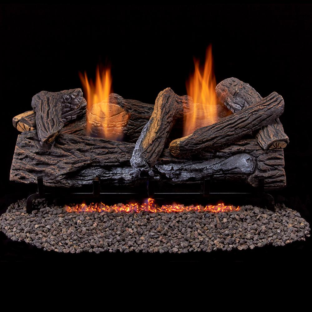 Duluth Forge Stacked Red Oak 24 in. Vent-Free Gas Fireplace Logs With Thermostat