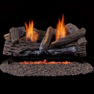 Stacked Red Oak 24 in. Vent-Free Gas Fireplace Logs With Thermostat