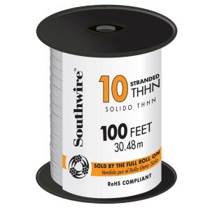 100 ft. 10 White Stranded CU THHN Wire