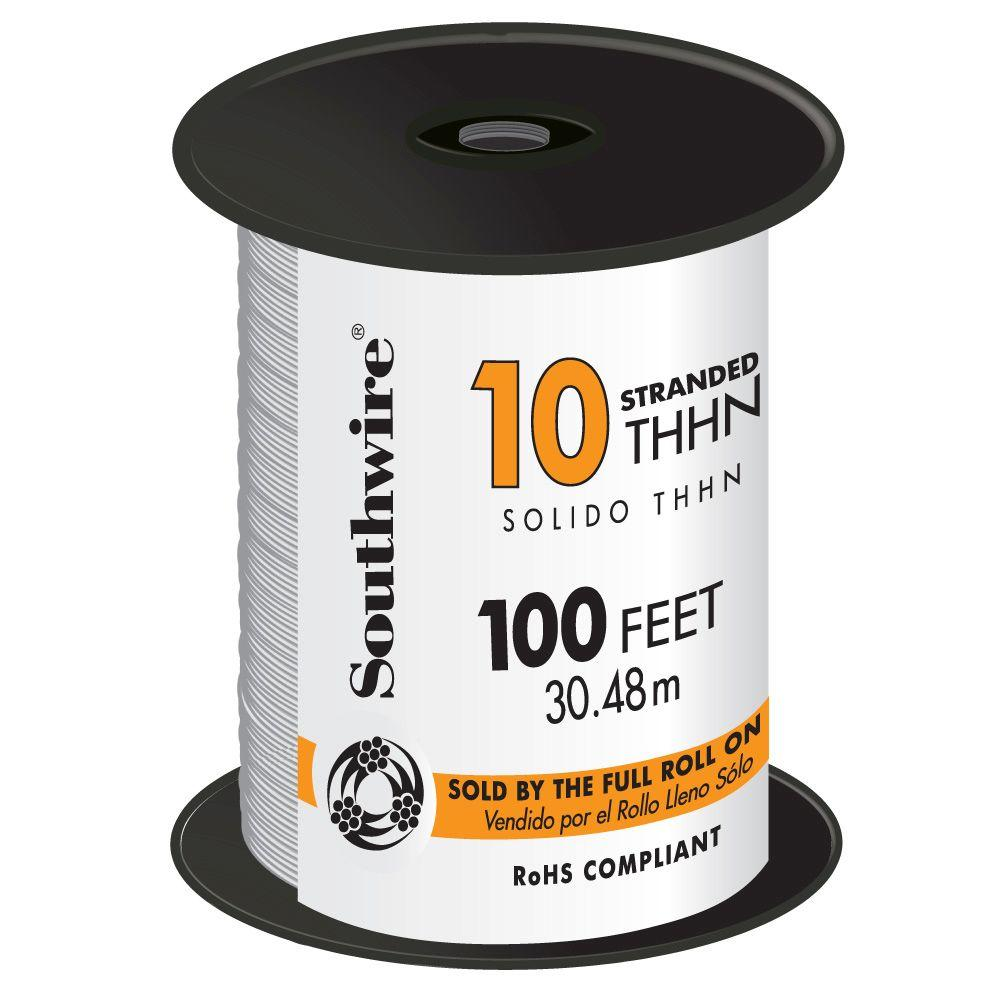 Southwire 100 ft. 10 White Stranded CU THHN Wire