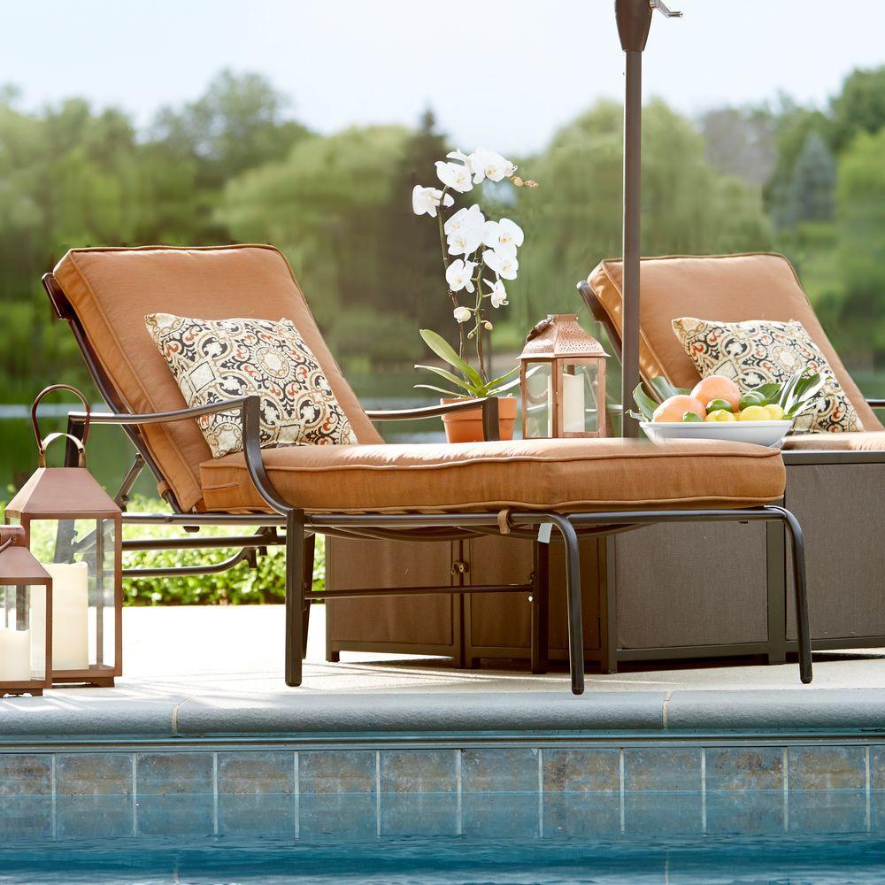 Hampton Bay Oak Heights Metal Outdoor Patio Chaise Lounge With Cashew Cushions