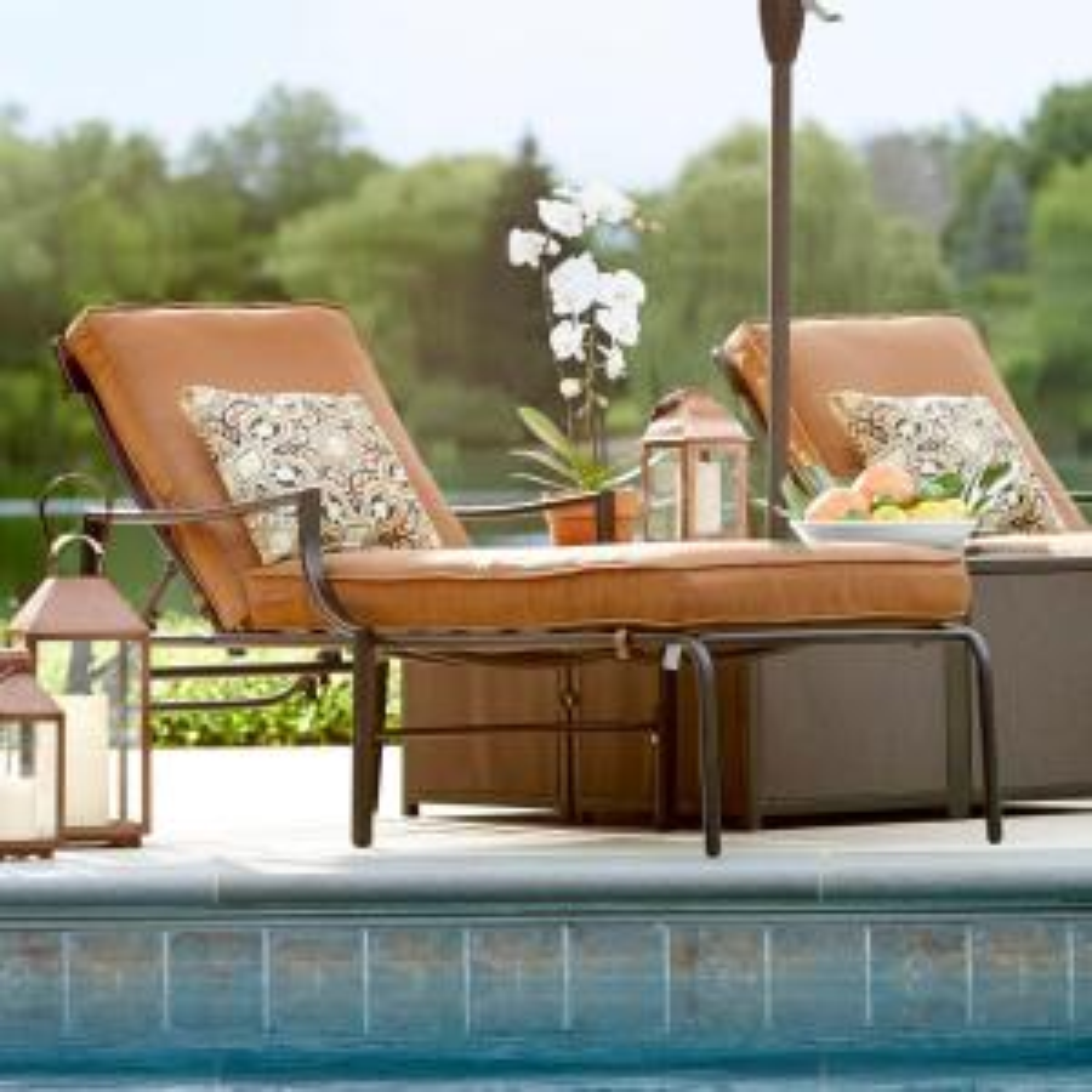 Hampton Bay Oak Heights Metal Outdoor Patio Chaise Lounge
