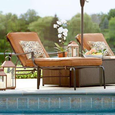 Oak Heights Metal Outdoor Patio Chaise Lounge with Cashew Cushions