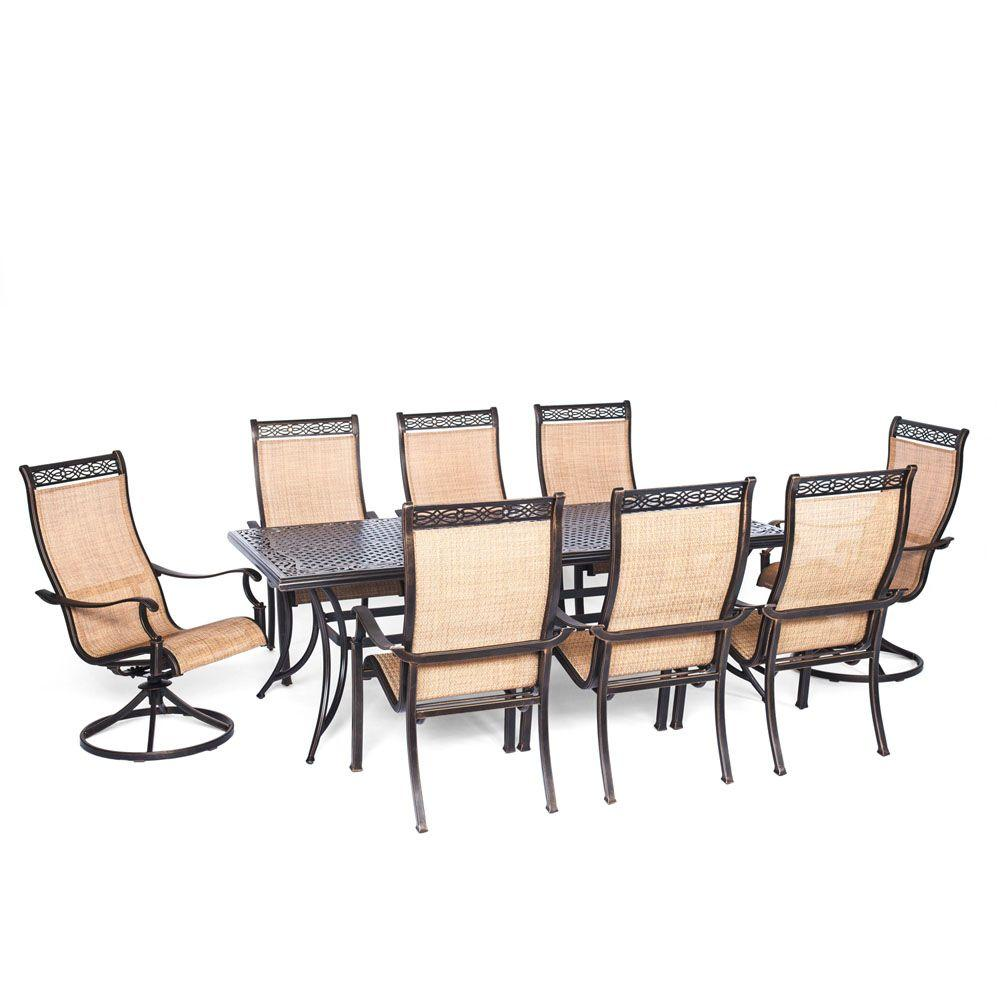Hanover Manor 9 Piece Rectangular Patio Dining Set With Two Swivel