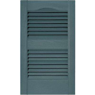 15 in. x 25 in. Louvered Vinyl Exterior Shutters Pair in #004 Wedgewood Blue