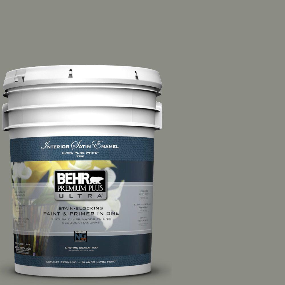 BEHR Premium Plus Ultra 5-gal. #N380-5 Naturalist Gray Satin Enamel Interior Paint