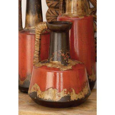 12 in. Rustic Elegance Ceramic Decorative Vase with Rattan Handle