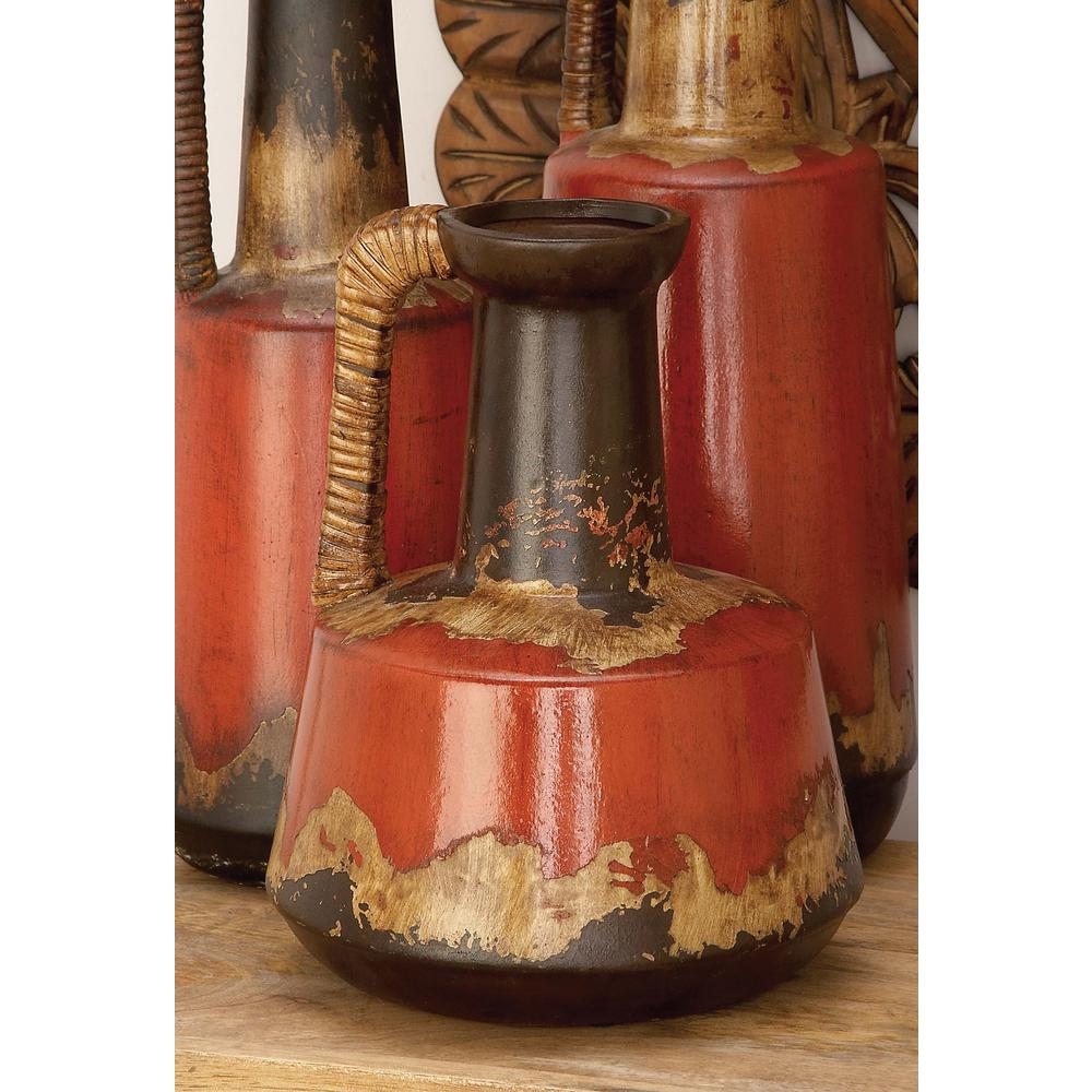 Ceramic Decorative Vase Rattan Handle 12 In Rustic Jug