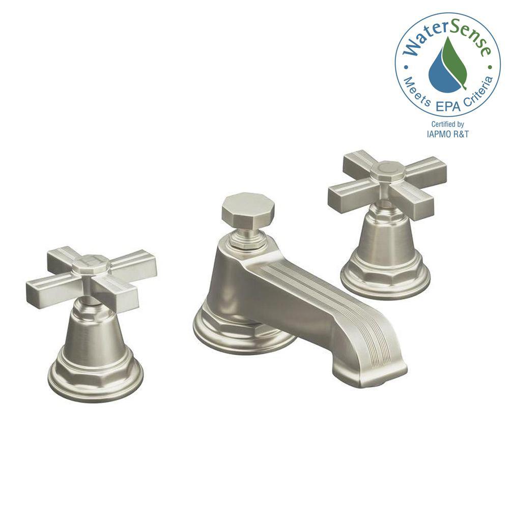 Pinstripe Pure 8 in. Widespread 2-Handle Low-Arc Water-Saving Bathroom Faucet in Vibrant Brushed Nickel