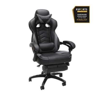 110 Racing Style Gaming Chair, Reclining Ergonomic Leather Chair with Footrest, in Gray (RSP-110-GRY)