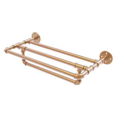 Pipeline Collection 30 in. Wall Mounted Towel Shelf with Towel Bar in Brushed Bronze