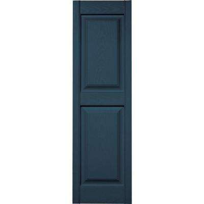 15 in. x 51 in. Raised Panel Vinyl Exterior Shutters Pair in #036 Classic Blue
