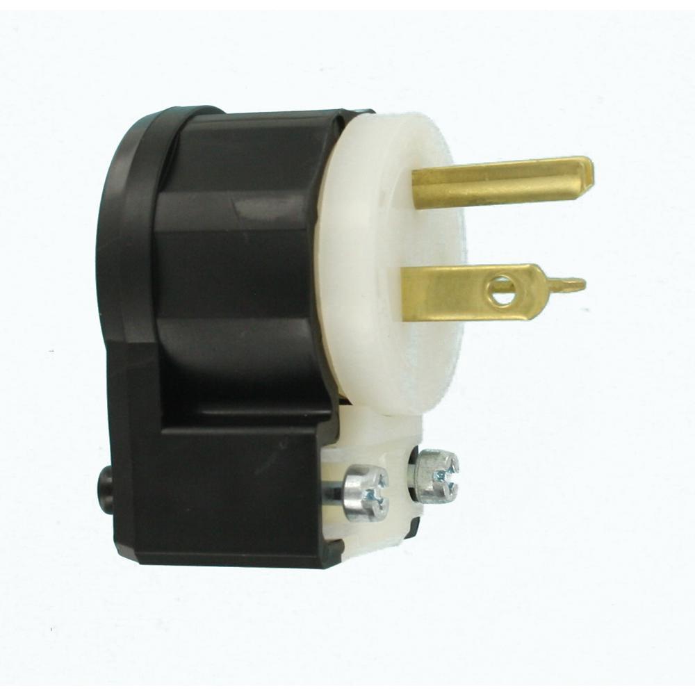 Leviton 20 Amp 250 Volt Straight Blade Grounding Angle Plug Black White 5466 Ca The Home Depot