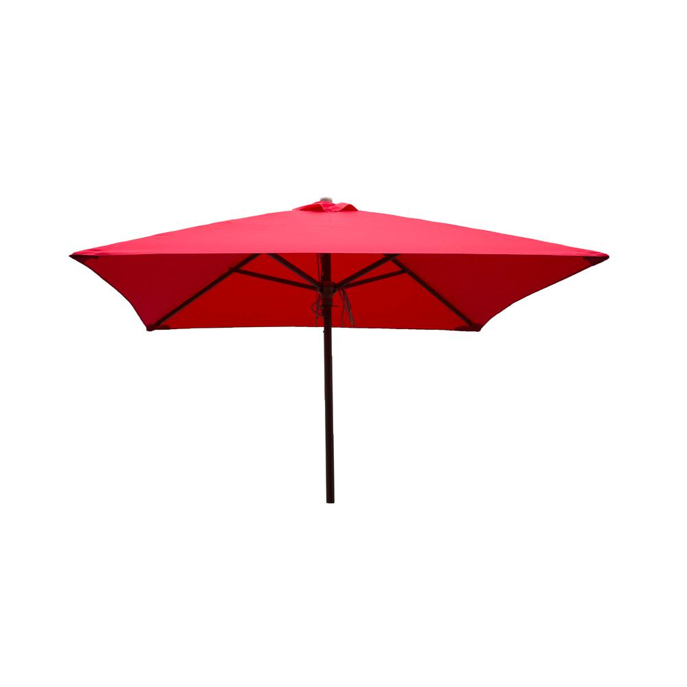 DestinationGear Classic Wood 6.5 Ft. Square Patio Umbrella In Red  Polyester 1236   The Home Depot