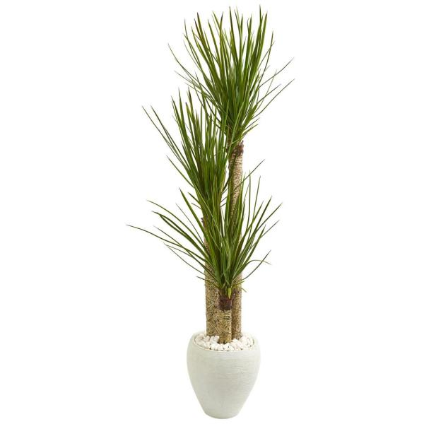 Nearly Natural Indoor 5.5-Ft. Yucca Artificial Tree in White Planter 9304