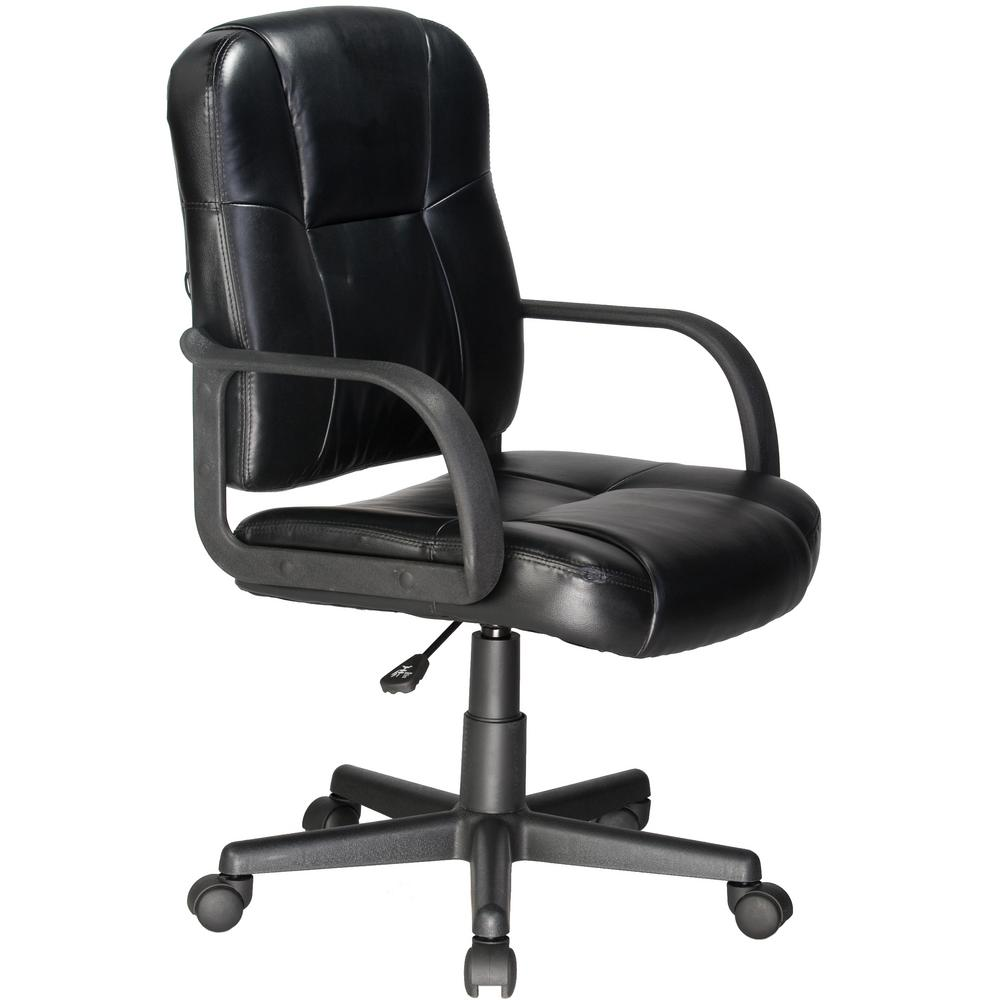 Relaxzen Black Massage Mid-Back Leather Chair